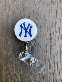 New York Yankees White Retractable Badge Reel