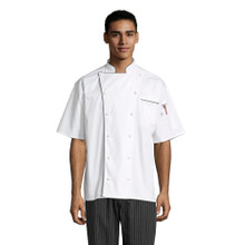 Montebello short-sleeve Executive  Chef Coat with Black Piping