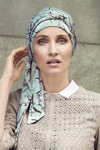Christine Headwear - Akina Long Printed Scarf Magnolia Blue (0437)