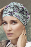 Christine Headwear - Azure Printed Turban Magnolia Blue (0437)