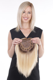 Belle Tress Remy Human Hair Lace Front Mono Top 14' - Honey Chai Root - main