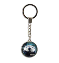 Round Glass Sea Otter Key Ring