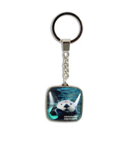 Square Glass Sea Otter Key Ring