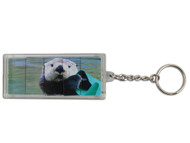 Rectangle sliding sea otter key ring.