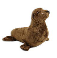 "9"" brown fluffy sea lion stuffy with whiskers."