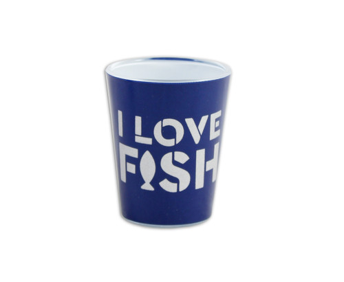 """Navy blue shot glass with """"I Love Fish"""" design."""