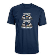 Funny navy t-shirt with funny comma saves lives joke.