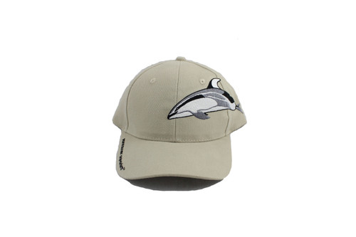 Beige adult baseball cap with a dolphin stitched on the top, with Vancouver Aquarium stitched on the side of the rim.