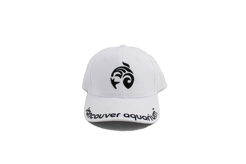 White adult baseball cap with black stitched embroidery of the Vancouver Aquarium logo and Vancouver Aquarium stitched on the rim.