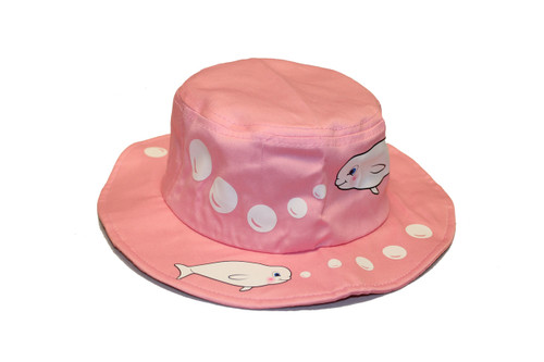 Pink bucket hat with white stitched beluga whales and bubbled on the rim and top of the hat.