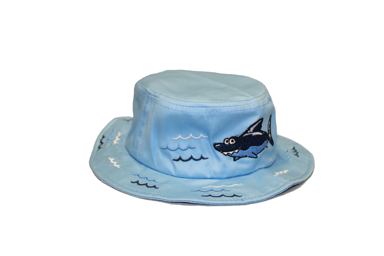 Light-blue bucket hat with a shark and bubbles designed on the rim and top 88d3bf4d90a