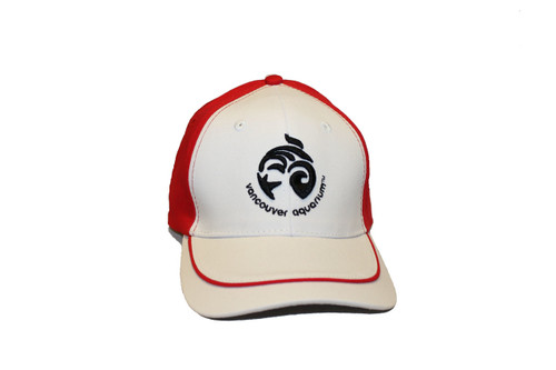 White and red baseball cap with the Vancouver Aquarium logo and red line design on the lid.