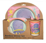 octopus bamboo dinner set