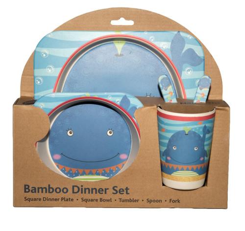 whale bamboo dinner set