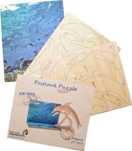 3D wood postcard puzzle dolphin
