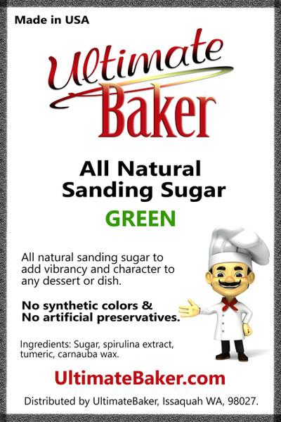 Ultimate Baker Natural Sanding Sugar (Med. Crystals) Green (1x16lb)