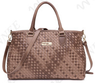 NNEE® Medium Hand Woven Leather Tote Bag Satchel with Multiple Pocket Design - Brown