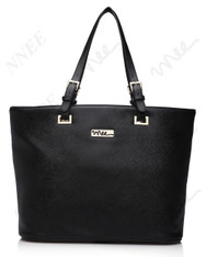 NNEE Top Handle Handbag Tote Bag With Adjustable Handle & Multiple Pocket Design - Black Dark