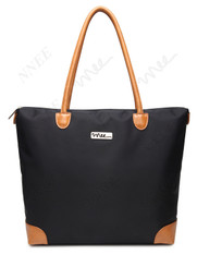 NNEE Water Resistance Nylon Tote Bag & Multiple Pocket Design - Black (Beige Lining)
