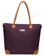 NNEE Water Resistance Nylon Tote Bag & Multiple Pocket Design (Purple (Beige Lining))