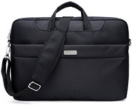 NNEE 15 15.6 Inch Water Resistance Suit Fabric Laptop / MacBook Multi-functional Expandable Business Briefcase Computer Shoulder Travel Bag - Black