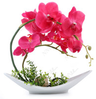 NNEE Artificial Phalaenopsis Orchid Arrangement with Decorative Flower Pot - Red Orchild Large