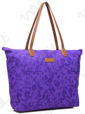 NNEE Water Resistance Light Weight Foldable Nylon Tote Bag Handbag - Purple Swirl