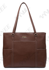 NNEE Classic Laptop Leather Tote Bag for 15 15.6 inch Notebook / MacBook Computers Travel Carrying Bag with Smart Trolley Strap Design - Dark Brown