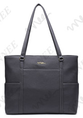 NNEE Classic Laptop Leather Tote Bag for 15 15.6 inch Notebook / MacBook Computers Travel Carrying Bag with Smart Trolley Strap Design - Dark Gray