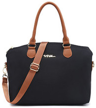 NNEE Water Resistance Nylon Top Handle Satchel Handbag with Multiple Pocket Design - Black