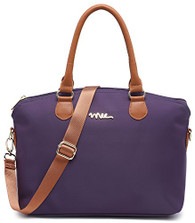 NNEE Water Resistance Nylon Top Handle Satchel Handbag with Multiple Pocket Design - Purple 2