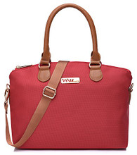 NNEE Water Resistance Nylon Top Handle Satchel Handbag with Multiple Pocket Design - Red