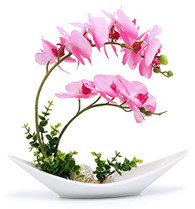 NNEE Artificial Phalaenopsis Orchid Arrangement with Decorative Flower Pot - Pink Orchild A301