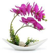 NNEE Artificial Phalaenopsis Orchid Arrangement with Decorative Flower Pot - Purple Orchild A301