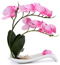 NNEE Artificial Phalaenopsis Orchid Arrangement with Decorative Flower Pot - Pink Orchild A321