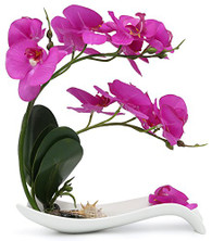 NNEE Artificial Phalaenopsis Orchid Arrangement with Decorative Flower Pot - Purple Orchild A321