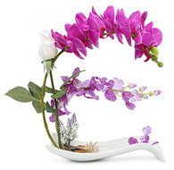NNEE Artificial Phalaenopsis Orchid Arrangement with Decorative Flower Pot - Purple Orchild A322