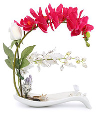 NNEE Artificial Phalaenopsis Orchid Arrangement with Decorative Flower Pot - Red Orchild A322