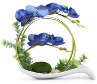 NNEE Artificial Phalaenopsis Orchid Arrangement with Decorative Flower Pot - Blue Orchild A323