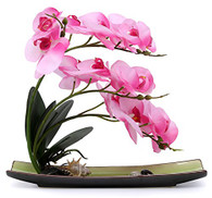 NNEE Artificial Phalaenopsis Orchid Arrangement with Decorative Flower Pot - Pink Orchild A325