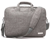 NNEE 15 15.6 Inch Water Resistance Suit Fabric Laptop / MacBook Multi-functional Briefcase Messenger Bag Computer Travel Carrying Case with Handles & Adjustable Shoulder Strap - Empress Gray