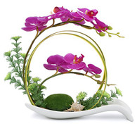 NNEE Artificial Phalaenopsis Orchid Arrangement with Decorative Flower Pot - Purple Orchild A323