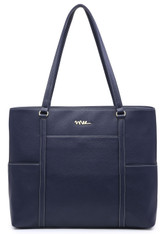 NNEE Classic Laptop Leather Tote Bag for 15 15.6 inch Notebook / MacBook Computers Travel Carrying Bag with Smart Trolley Strap Design - Navy