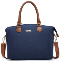 NNEE Water Resistance Nylon Top Handle Satchel Handbag with Multiple Pocket Design - Navy