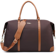 NNEE Large Oversized Water Resistance Nylon Travel Tote Bag/Duffle Shoulder Bag with Trolley Strap Design - Brown