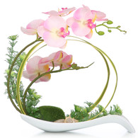 NNEE Artificial Phalaenopsis Orchid Arrangement with Decorative Flower Pot - Pink Orchild A323