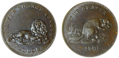 Gilbert Pidcock, Copper Farthing, 1801 (D&H Middlesex 1069)