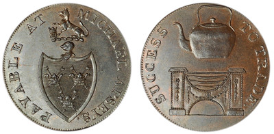 Michael Aspey, Copper Halfpenny (D&H Suffolk 28c)