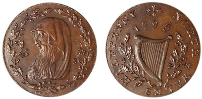 North Wales, Bronzed Copper Halfpenny, 1793 (D&H North Wales 8)