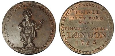 Thomas Hall, 'Sir Jeffery Dunstan' Copper Halfpenny, 1795 (DH Middlesex 316)